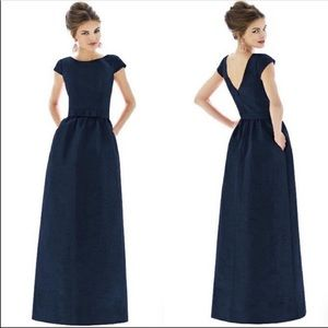 Alfred Sung D569 Dupioni Gown in Midnight NWOT